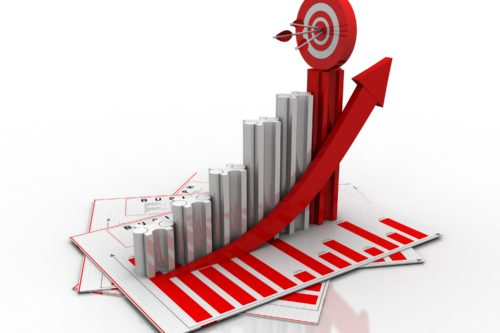 3d rendering Stock market online business concept. business Graph with target arrow